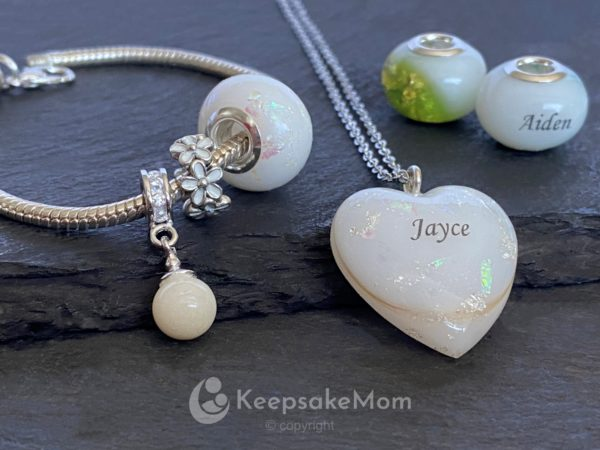 KeepsakeMom Breastmilk Jewelry Breastmilk Beads, Effervescence Bead, Opal Effect, Bracelet