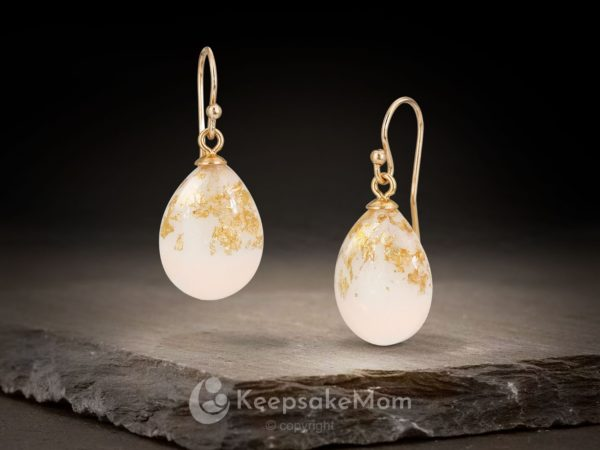 KeepsakeMom Breastmilk Jewelry Breastmilk Earrings, The Original Dangle Earrings, Yellow Gold With Yellow Gold Flakes
