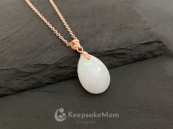 KeepsakeMom Breastmilk Jewelry Breastmilk Necklace, Drop Of Gold, Rose Gold, 18mm