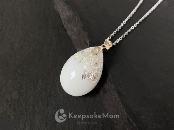 KeepsakeMom Breastmilk Jewelry Breastmilk Necklace, Drop Of Gold, Silver