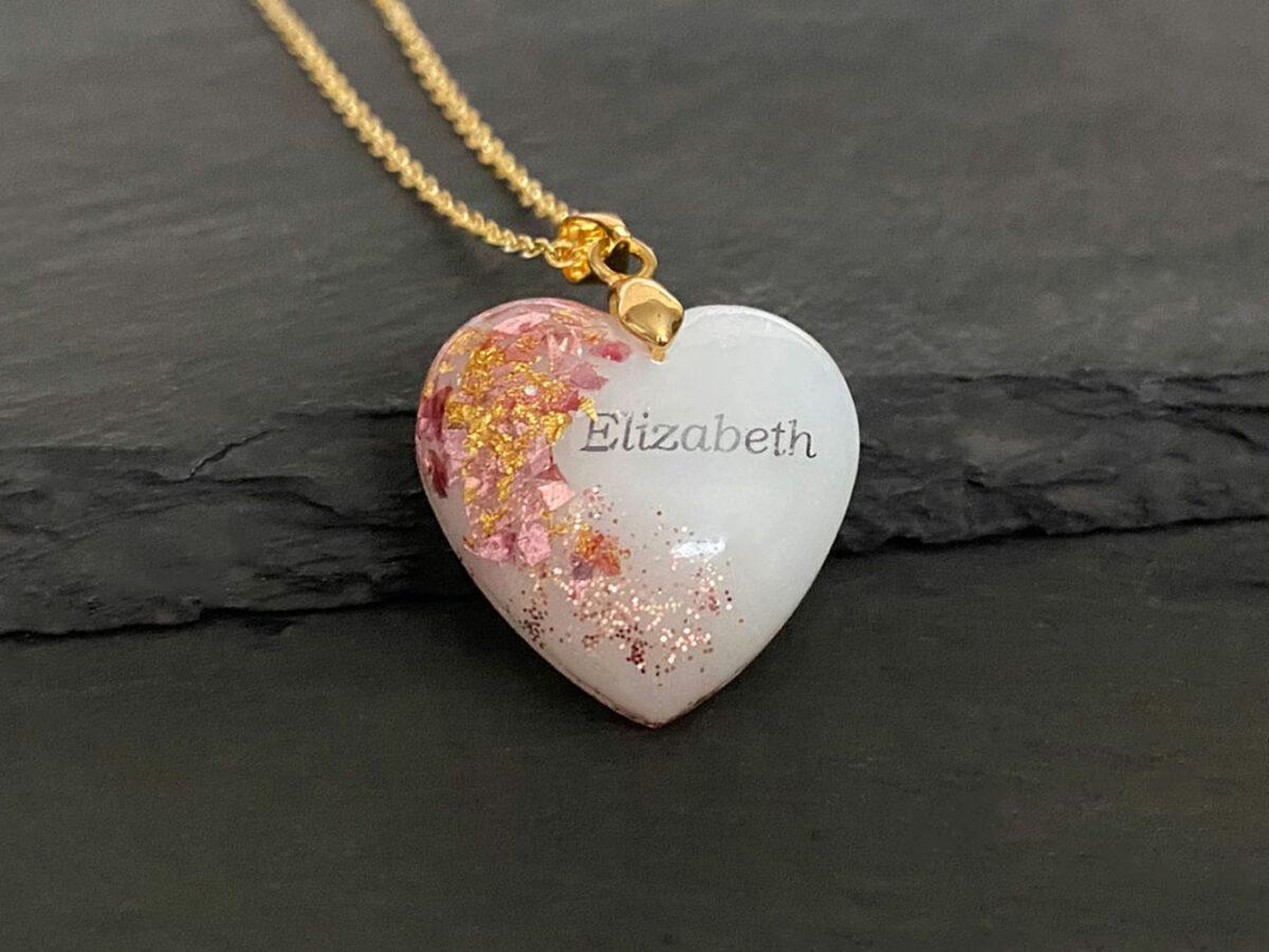 KeepsakeMom Breastmilk Jewelry Breastmilk Necklace, Golden Girl, Pink & Gold