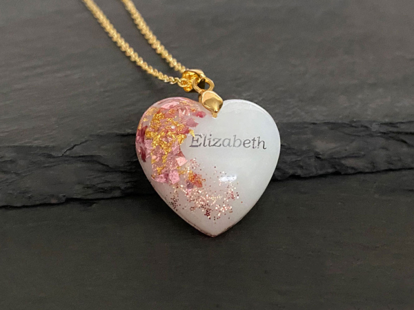 KeepsakeMom Breastmilk Jewelry Breastmilk Necklace, Golden Girl, Pink & Gold