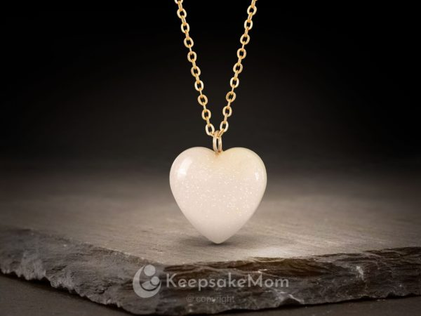 KeepsakeMom Breastmilk Jewelry Breastmilk Necklace, Heart Of Gold, Gold