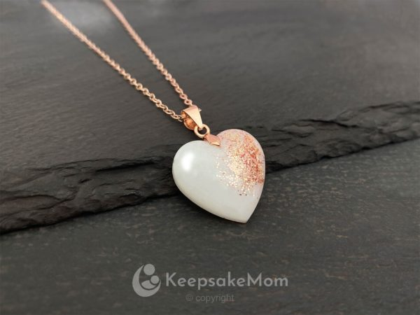 KeepsakeMom Breastmilk Jewelry Breastmilk Necklace, Heart Of Rose Gold, Rose Gold