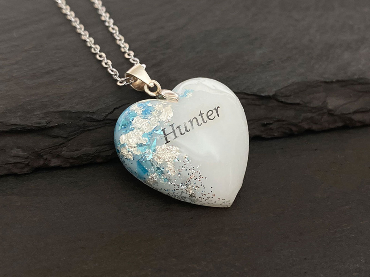 KeepsakeMom Breastmilk Jewelry Breastmilk Necklace, Silver Boy, Blue & Silver
