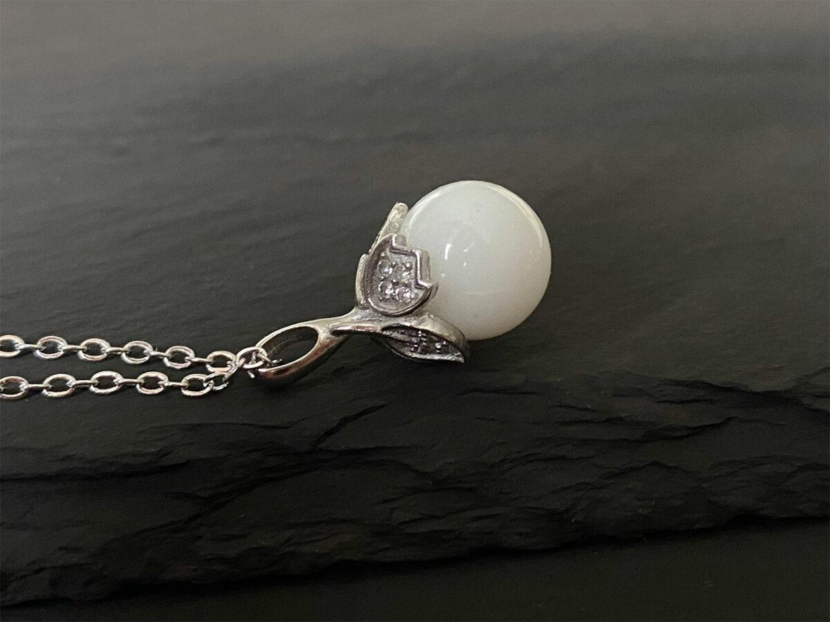KeepsakeMom Breastmilk Jewelry Breastmilk Necklace, Sweet Pea, Silver