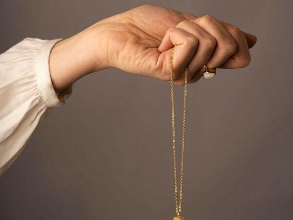 KeepsakeMom Breastmilk Jewelry Breastmilk Necklace, The Obelisk, Yellow Gold, Modeled