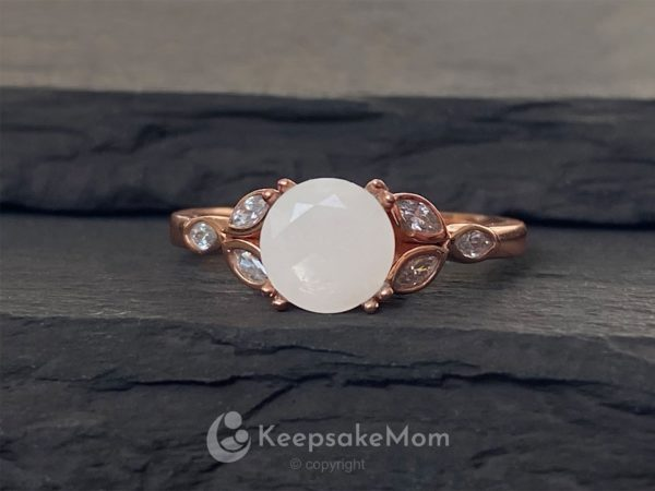 KeepsakeMom Breastmilk Jewelry Breastmilk Ring, Like A Diamond, Rose Gold