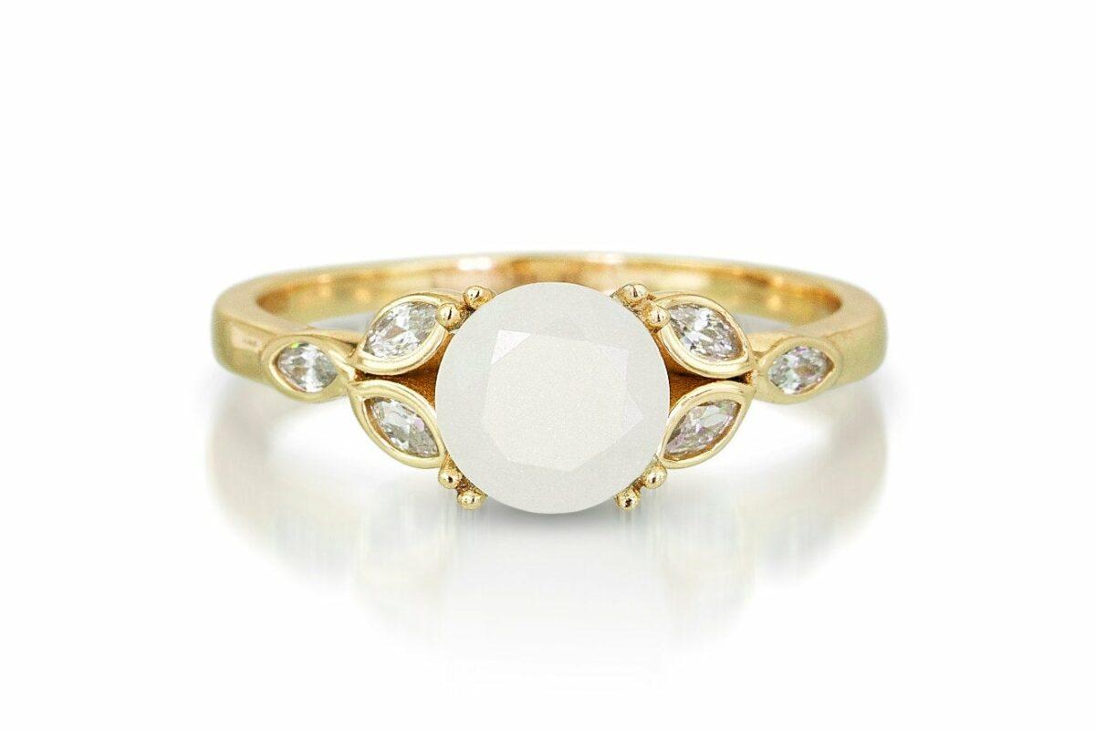 KeepsakeMom Breastmilk Jewelry Breastmilk Ring, Like A Diamond, Yellow Gold