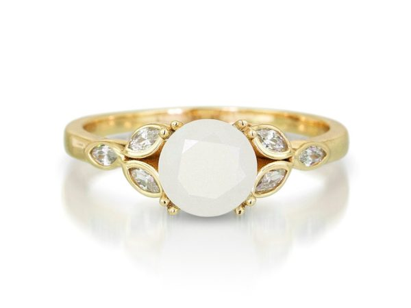 KeepsakeMom Breastmilk Jewelry Breastmilk Ring, Like A Diamond, Yellow Gold