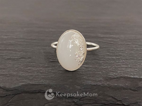 KeepsakeMom Breastmilk Jewelry Breastmilk Ring, Sunshine, Silver