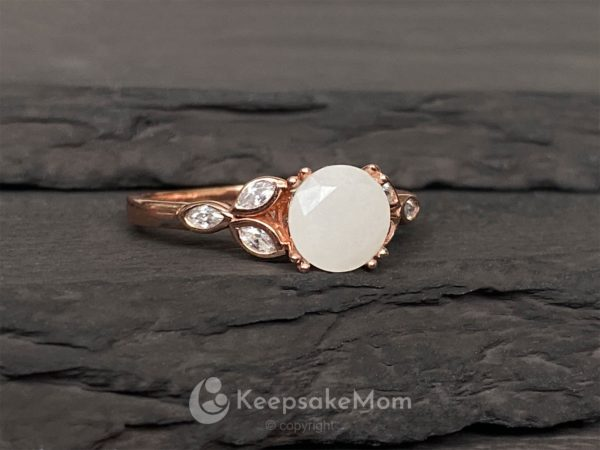 KeepsakeMom Breastmilk Jewelry Breastmilk Ring, Like A Diamond, Rose Gold, Profile
