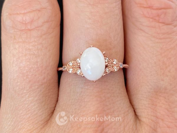 KeepsakeMom Breastmilk Jewelry Breastmilk Ring, Forever Love, Rose Gold, Modeled
