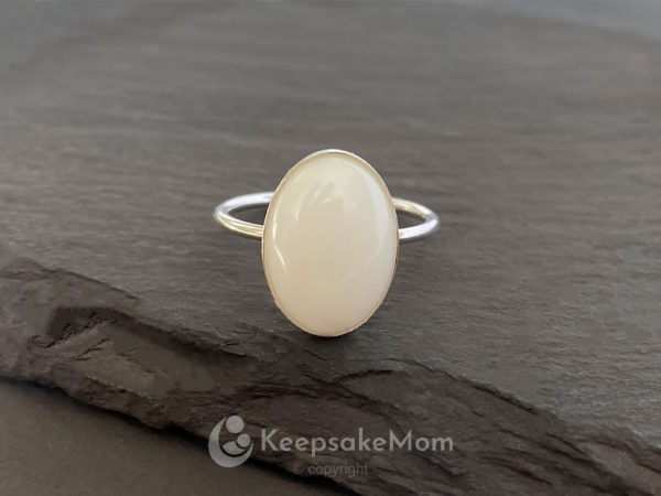 KeepsakeMom Breastmilk Jewelry Breastmilk Ring, Sunshine, Silver, No Flakes