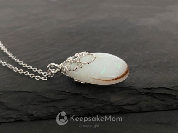 KeepsakeMom Breastmilk Jewelry Breastmilk Necklace Effervescence Silver, Lock Of Hair, Profile