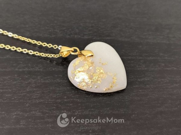 KeepsakeMom Breastmilk Jewelry Breastmilk Necklace, Forever In Your Heart, Yellow Gold