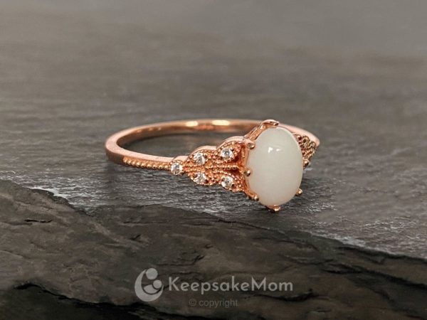 KeepsakeMom Breastmilk Jewelry Breastmilk Ring, Forever Love, Rose Gold, Profile