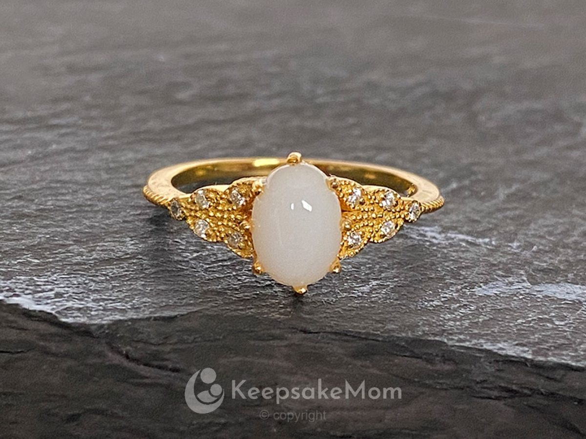 KeepsakeMom Breastmilk Jewelry Breastmilk Ring, Forever Love, Yellow Gold