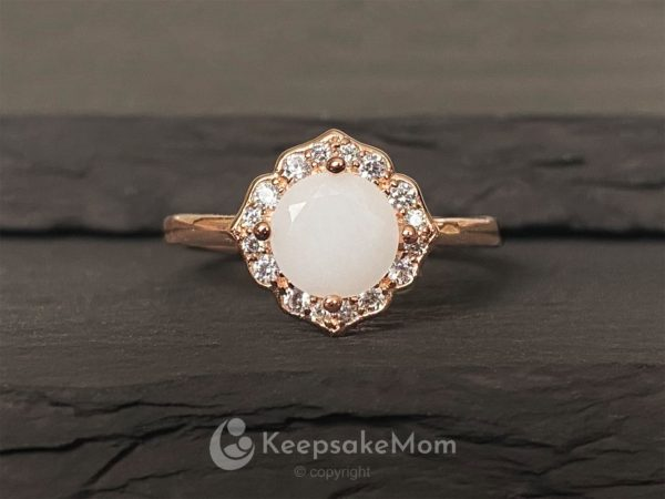 KeepsakeMom Breastmilk Jewelry Breastmilk Ring Milky Brilliance Rose Gold