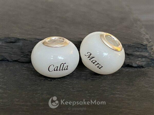 KeepsakeMom Breastmilk Jewelry Breastmilk Beads, Little Darling Bead, Natural Breast Milk, Name