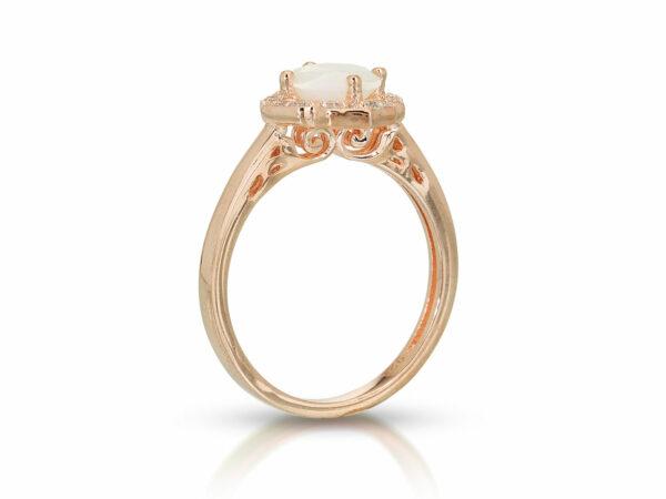 KeepsakeMom Breastmilk Jewelry Breastmilk Ring Milky Brilliance Rose Gold Pearl Effect Clear Background