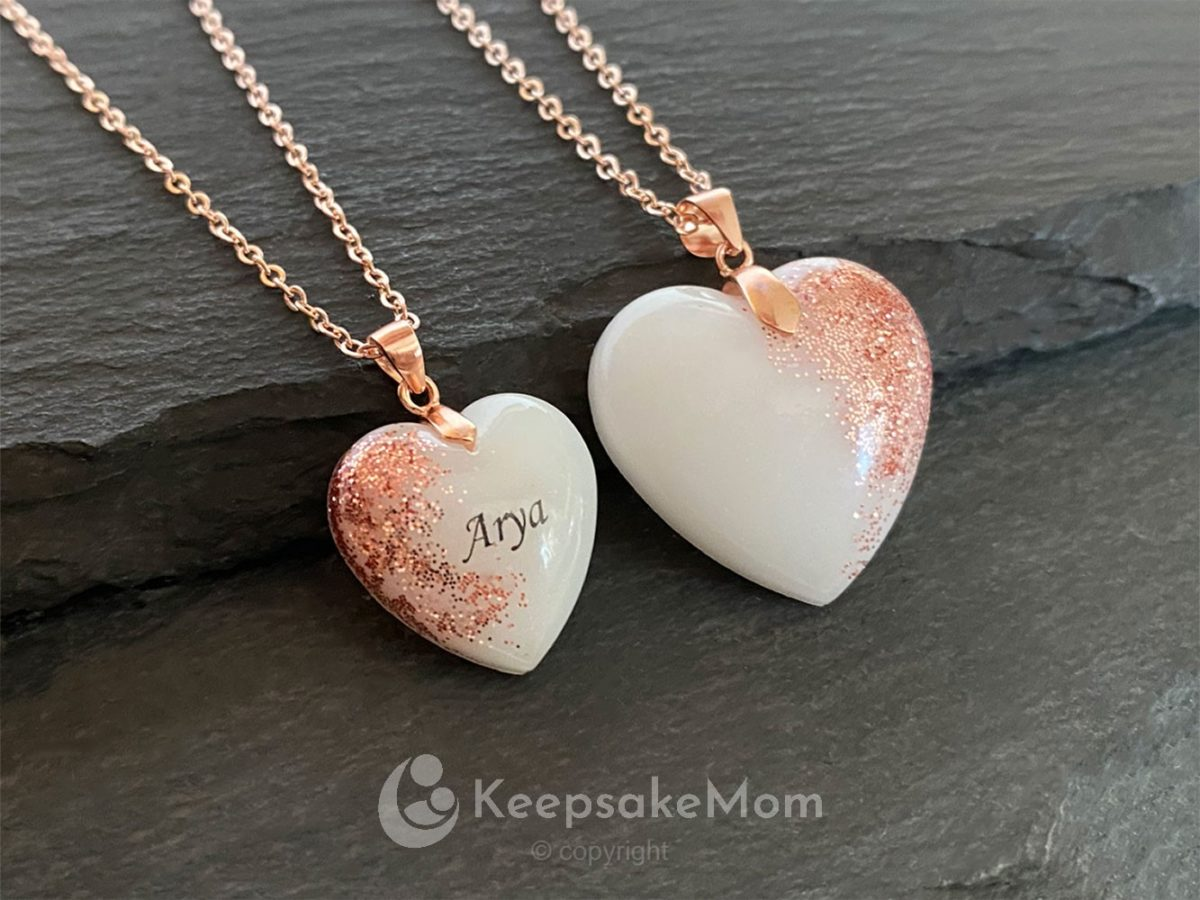 KeepsakeMom Breastmilk Jewelry Breastmilk Necklace Heart Of Rose Gold Rose Gold 24 And 15mm