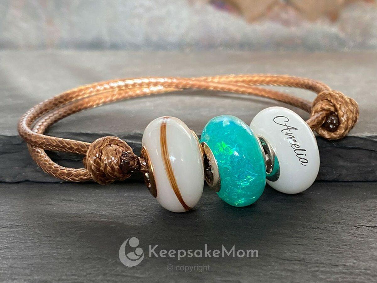 KeepsakeMom Breastmilk Jewelry Breastmilk Beads Celebration Bead Lock Of Hair Birth Color
