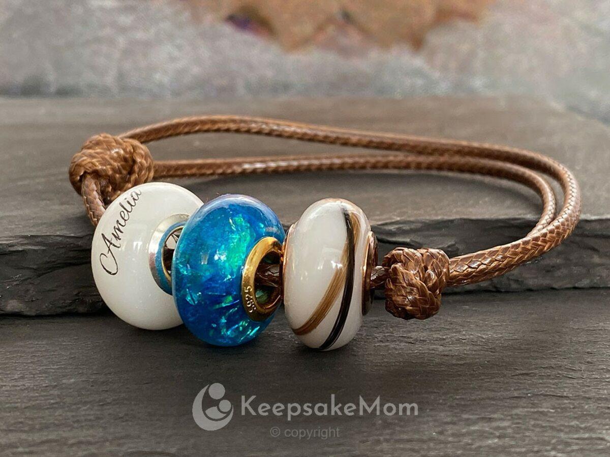 KeepsakeMom Breastmilk Jewelry Breastmilk Beads Celebration Bead Lock Of Hair Bracelet
