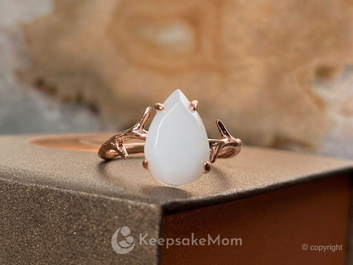 Breastmilk Jewelry Ring Branch Opal Rose Gold Plain