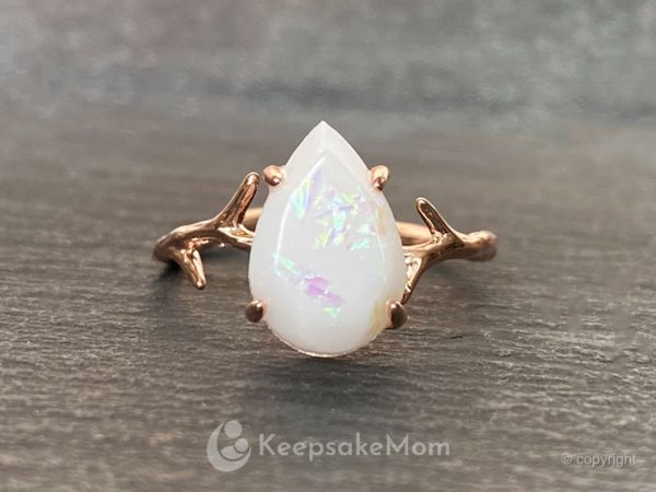 Breastmilk Rose Gold Opal Ring Branch