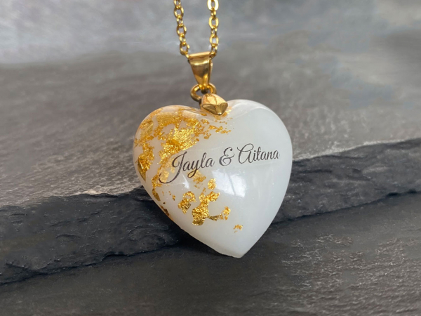 Breastmilk Gold Heart Necklace Names