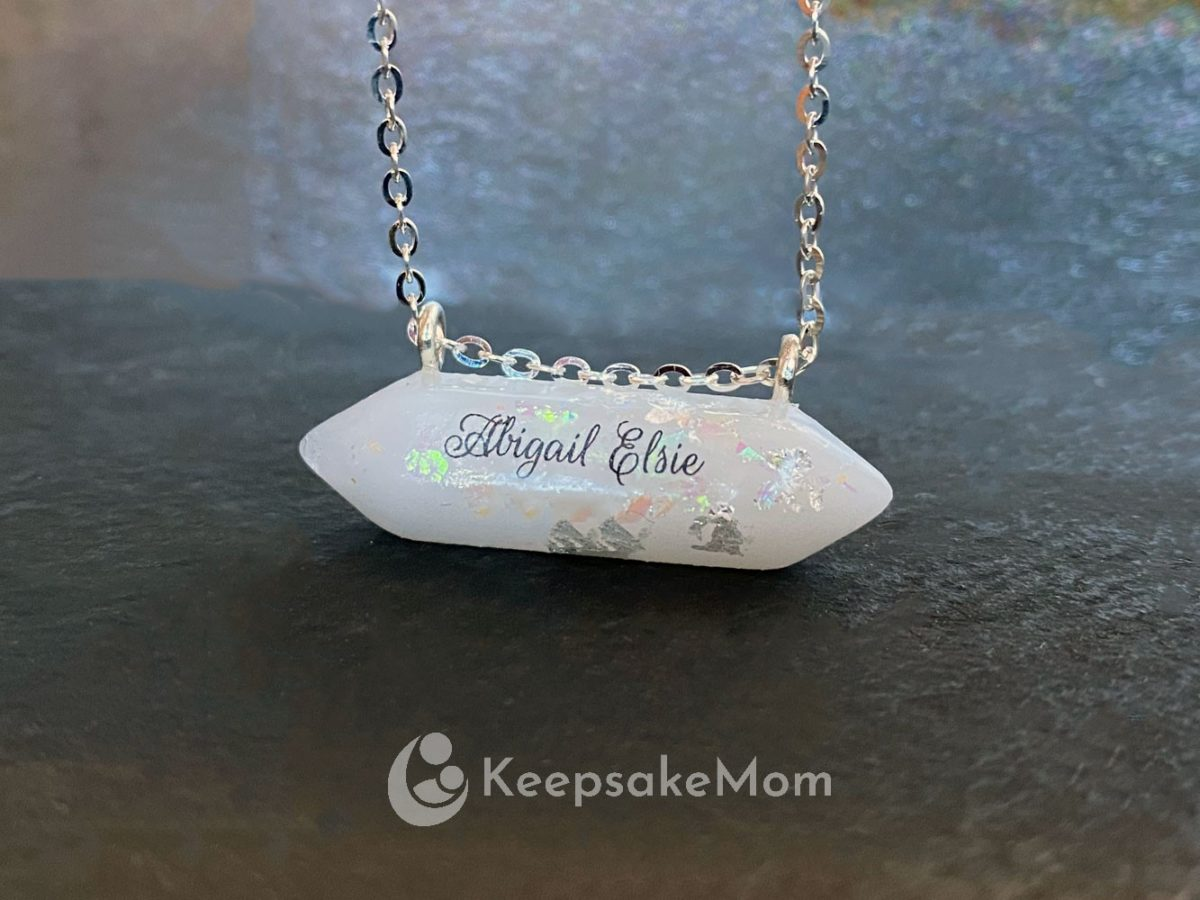 Breastmilk Jewelry Bar Silver Flakes Name Text Opal