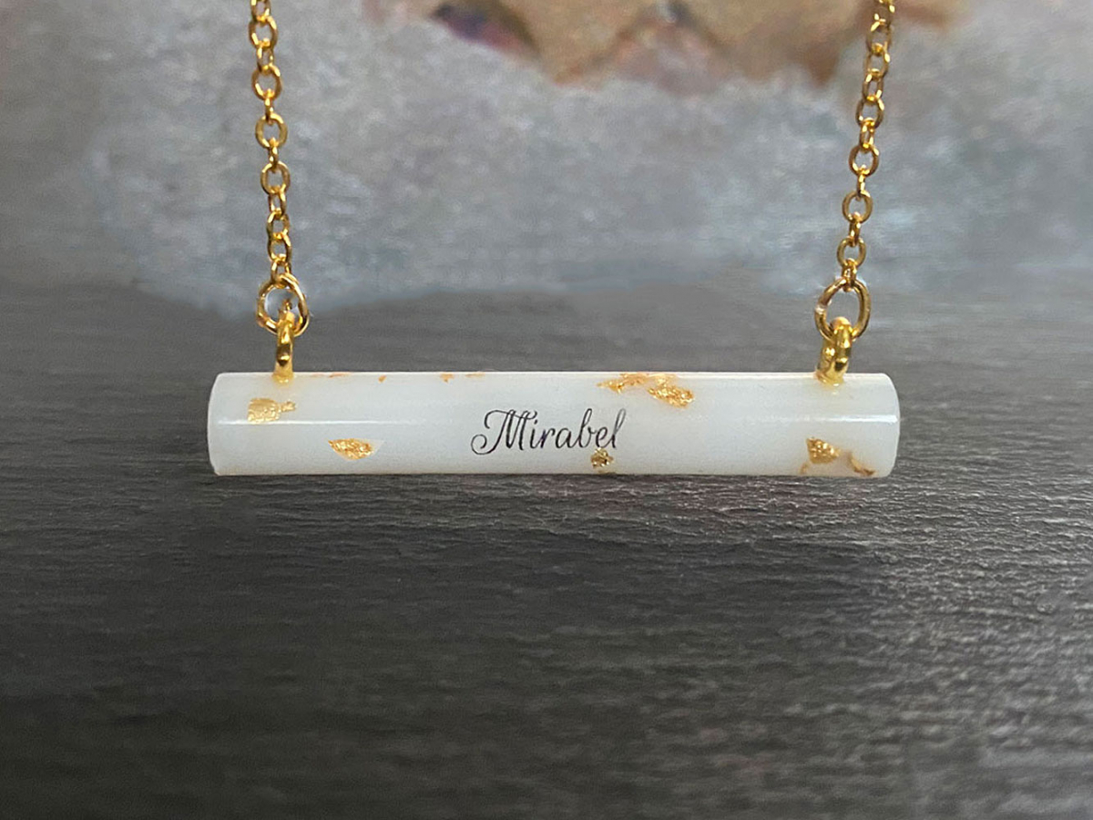 Breastmilk Necklace Gold Bar Name