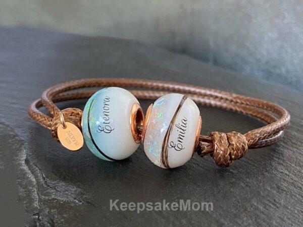 Breast Milk Jewelry Bracelet Two Beads April March Aquamarine Diamond Birth Months Names