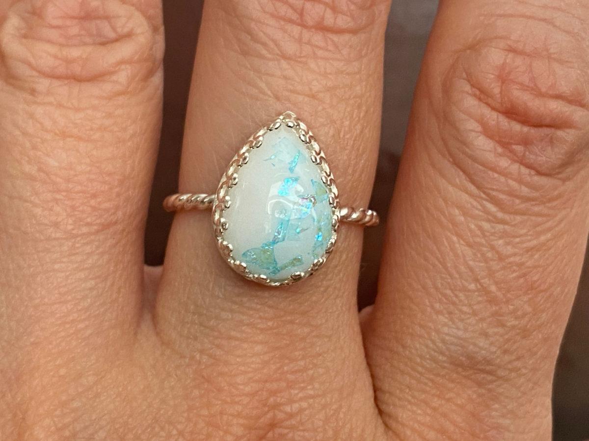 Breastmilk Blue Silver Ring Drop Opal