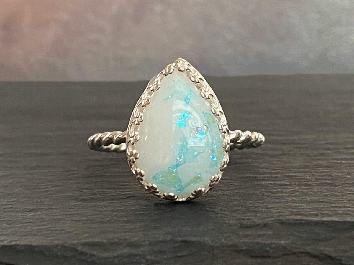 Breastmilk Silver Ring Blue Opal Glakes Drop